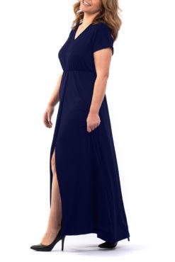 Φόρεμα maxi βισκόζ μπλε σκούρο