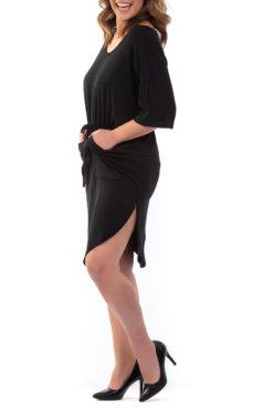 Μπλουζοφόρεμα βισκόζ με λάστιχο στην μέση και τσέπες μαύρο
