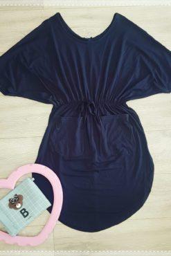 Μπλουζοφόρεμα βισκόζ με λάστιχο στην μέση και τσέπες μπλε