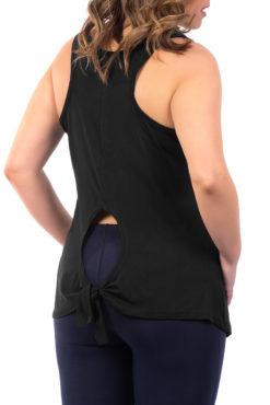 Μπλούζα αμάνικη βισκόζ με δέσιμο πίσω μαύρη