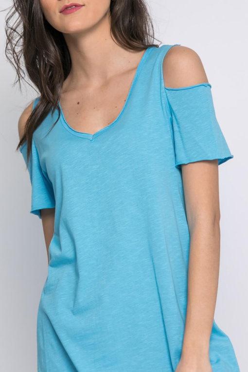 Μπλούζα με άνοιγμα στους ώμους γαλάζια