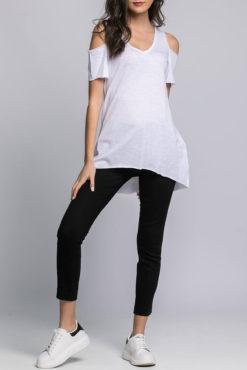 Μπλούζα με άνοιγμα στους ώμους λευκή