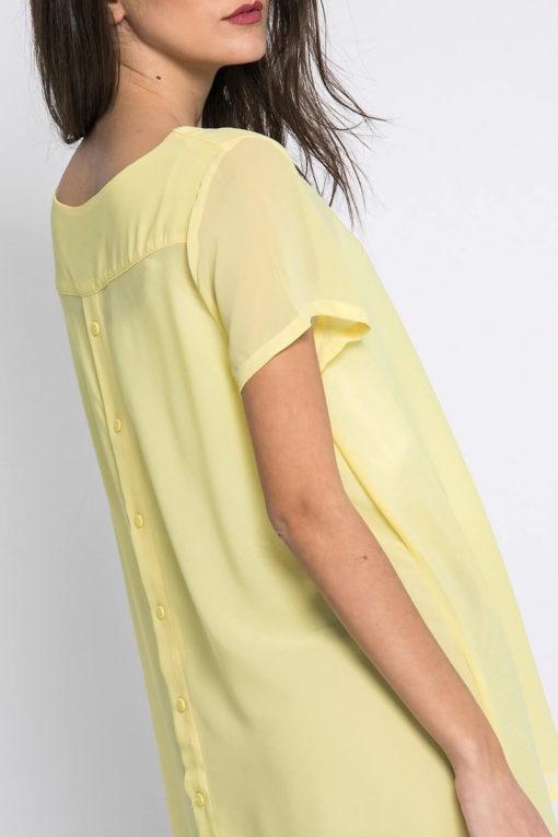 Μπλούζα ασύμμετρη με κουμπάκια στην πλάτη κίτρινη
