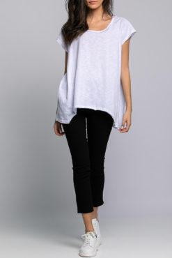 Μπλούζα βαμβακερή ασύμμετρη λευκή