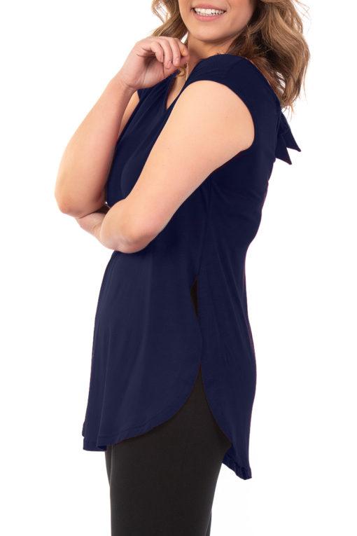Μπλούζα αμάνικη με δέσιμο στην πλάτη μπλε