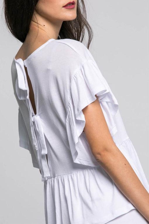 Μπλούζα με βολάν στα μανίκια και δέσιμο στην πλάτη