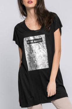 Μπλούζα με μεταλλικό τύπωμα