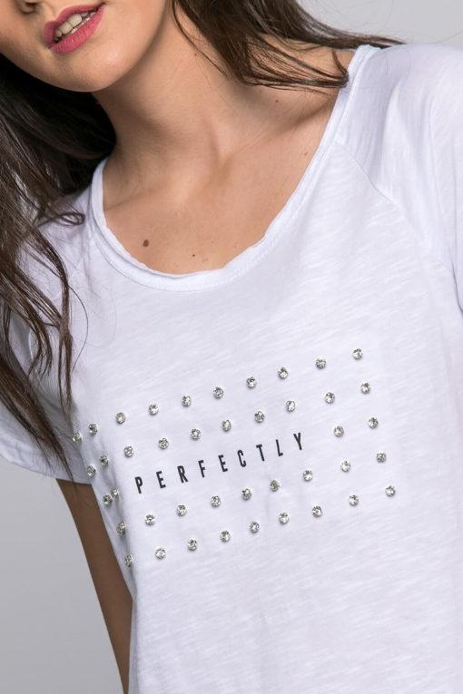 """Μπλούζα με τύπωμα """"perfectly"""" και στρασάκια"""