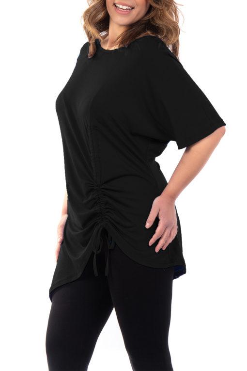 Μπλουζοφόρεμα με κορδόνι που σουρώνει στο τελείωμα μαύρο