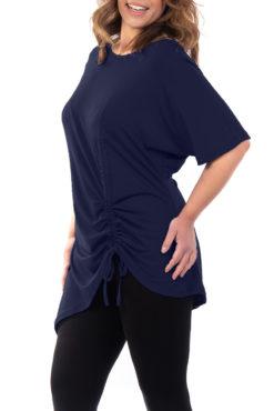 Μπλουζοφόρεμα με κορδόνι που σουρώνει στο τελείωμα μπλε σκούρο
