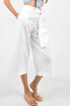 Ζιπ κιλότ με ενσωματωμένο ζωνάκι λευκή