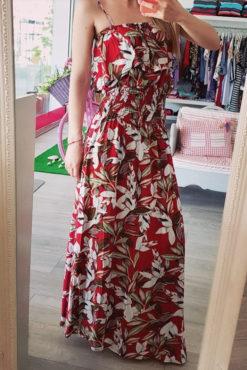 Floral φόρεμα με βολάν κόκκινο