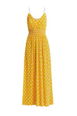 Φόρεμα κρουαζέ πουά με σφηκοφωλιά κίτρινο