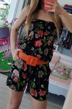Strapless ολόσωμη floral φόρμα