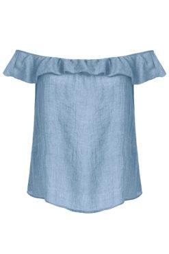 Μπλούζα με ακάλυπτους ώμους και βολάν μπλε ραφ