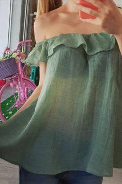 Μπλούζα με ακάλυπτους ώμους και βολάν βεραμάν