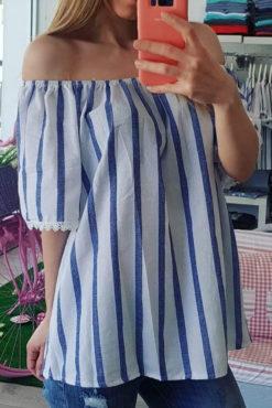Μπλούζα με έξω ώμους ριγέ (μπλε-άσπρο)