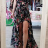 Floral ολόσωμη φόρμα-φόρεμα μαύρη