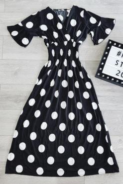 Πουά φόρεμα maxi μαύρο