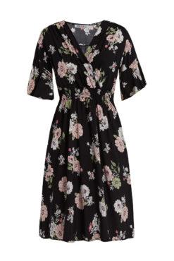 Κρουαζέ φόρεμα με λουλούδια μαύρο