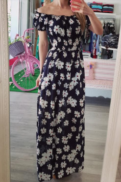 Φόρεμα maxi με ακάλυπτους ώμους μπλε σκούρο