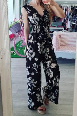 Floral ολόσωμη φόρμα μαύρη