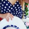 Φόρεμα maxi κρουαζέ πουά μπλε σκούρο