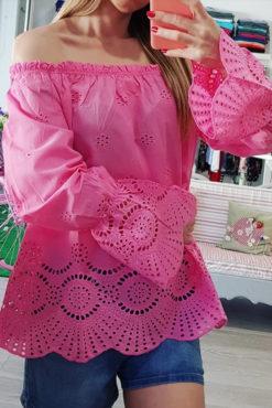 Μπλούζα με ακάλυπτους ώμους ροζ