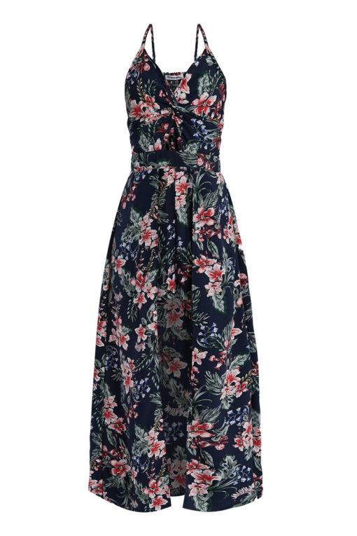 Floral ολόσωμη φόρμα-φόρεμα σκούρη μπλε