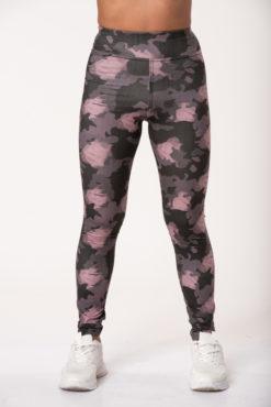 Κολάν dry-fit, εμπριμέ, ψηλόμεσο σε γκρι-ροζ αποχρώσεις