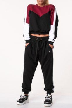 Αθλητικές φόρμες σετ μπορντό-μαύρο