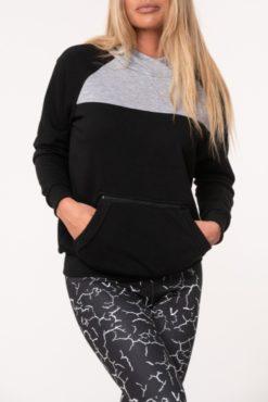 Μπλούζα φούτερ με κουκούλα δίχρωμη (μαύρο-γκρι)