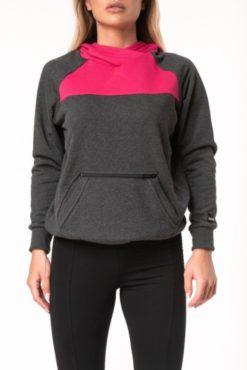 Μπλούζα φούτερ με κουκούλα δίχρωμη (ανθρακί-μπορντό)