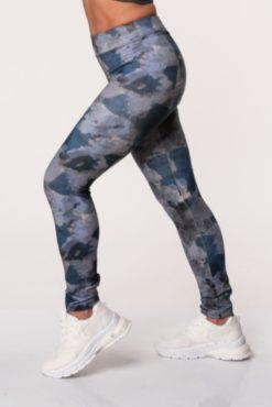 Κολάν dry-fit, εμπριμέ, ψηλόμεσο σε γκρι-μπλε αποχρώσεις