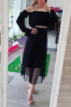 Midi φούστα με πουά τούλι μαύρη