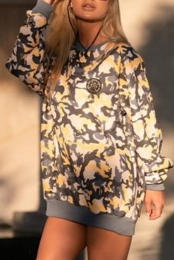 Μπλούζα φούτερ εμπριμέ unisex σε γήινες αποχρώσεις