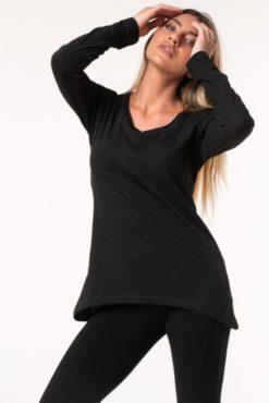 Μπλούζα βαμβακερή ασύμμετρη μαύρη