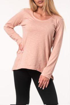 Μπλούζα βαμβακερή ασύμμετρη ροζ