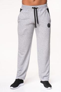 Παντελόνι φόρμας φούτερ γκρι με δίχρωμες τσέπες
