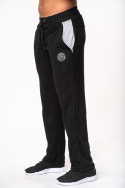 Παντελόνι φόρμας φούτερ μαύρο με δίχρωμες τσέπες