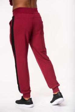 Παντελόνι φόρμας φούτερ μπορντό με δίχρωμη φάσα στο πλάι