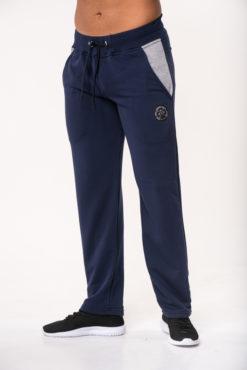Παντελόνι φόρμας φούτερ μπλε με δίχρωμες τσέπες