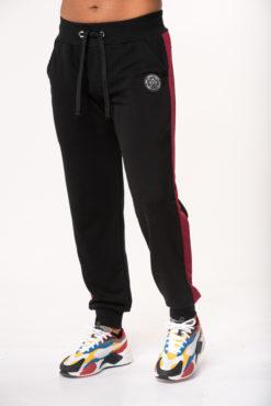 Παντελόνι φόρμας φούτερ μαύρο με δίχρωμη φάσα στο πλάι