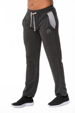Παντελόνι φόρμας φούτερ ανθρακί με δίχρωμες τσέπες