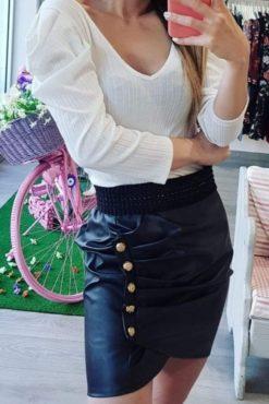 Φούστα δερματίνης με κουμπιά μαύρη