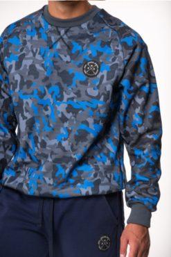 Μπλούζα φούτερ εμπριμέ σε μπλε αποχρώσεις