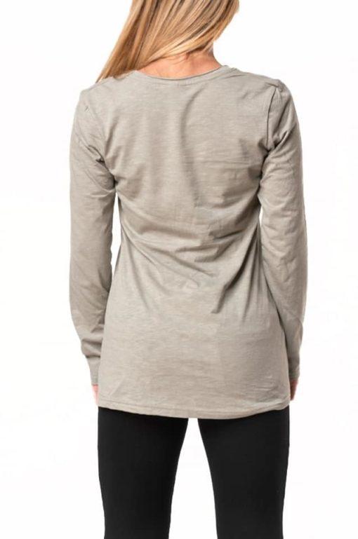 Μπλούζα βαμβακερή ασύμμετρη γκρι-χακί