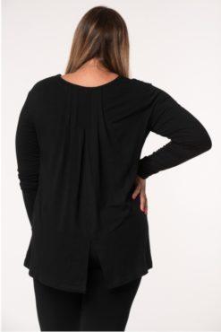 Μπλούζα βισκόζ με κουφόπιετα μαύρη