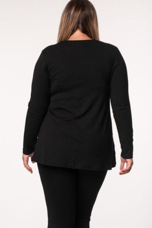 Μπλούζα βισκόζ ασύμμετρη μαύρη