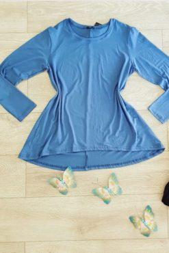 Μπλούζα βισκόζ ασύμμετρη μπλε ραφ
